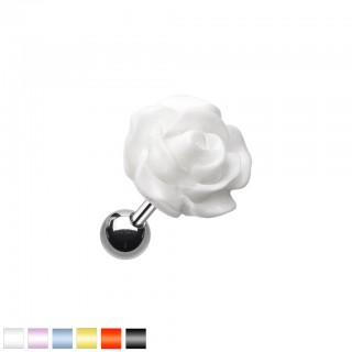 Coloured acrylic rose on steel cartilage piercing