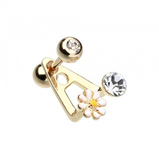 Coloured barbell with dangling crystal and daisy flower