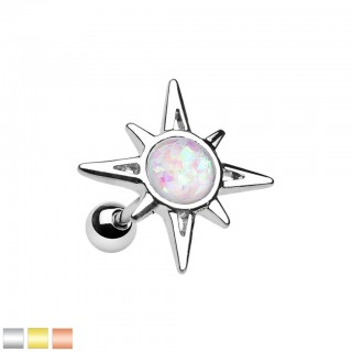 Helix piercing of sunburst with white opal stone