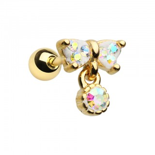 Bow-tie shaped helix piercing with coloured dangling crystal