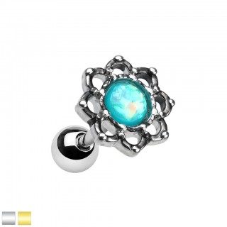 Lotus flower cartilage piercing with coloured stone