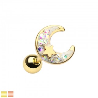 Coloured cartilage piercing with glitter crescent moon and star