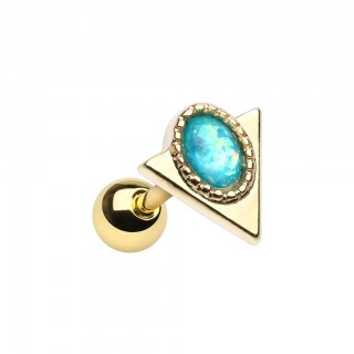 Coloured cartilage piercing with triangle and blue opal stone