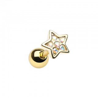 Cartilage piercing with coloured crystal star top