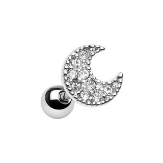 Cartilage piercing with crystal crescent moon top