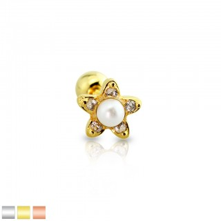 Coloured cartilage stud with crystal flower and pearl