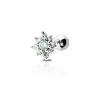 Coloured cartilage piercing stud with gemmed flower top
