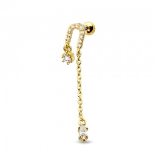 Coloured ear stud with horseshoe and crystals dangles – Gold