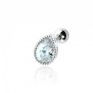 Coloured ear stud with crystal tear drop top