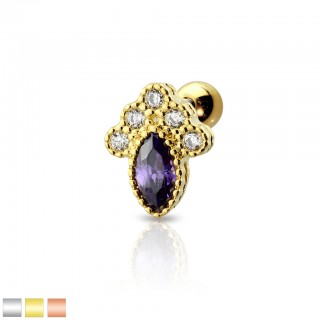 Coloured cartilage stud with mushroom of coloured marquise crystal