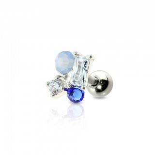 Coloured cartilage stud with opal and crystals top
