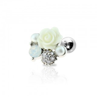 Cartilage stud with coloured rose and pearls