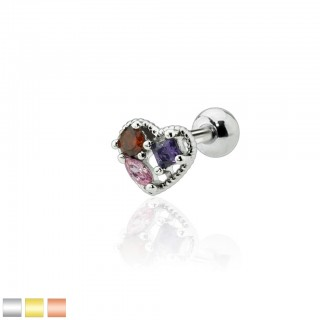 Cartilage stud with heart and coloured crystals
