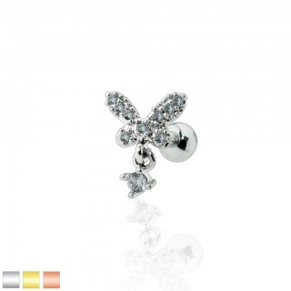 Cartilage piercing with crystal butterfly and dangling crystal