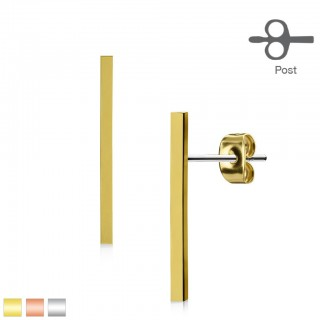 Pair ear studs with 20 mm long bar