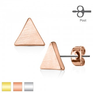 Set of ear lobe piercings with triangle stud