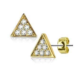 Earrings with white jeweled triangular gem