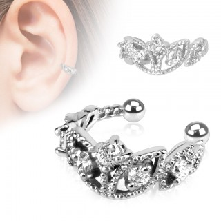 Clip on helix ring met glinsterende kroon