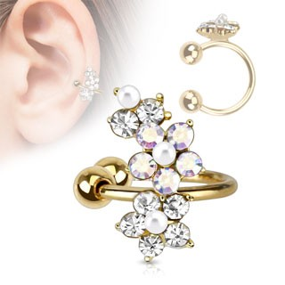 Clip on helix ring met kristallen bloem
