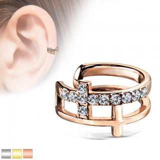 Coloured double cross ear cuff with clear crystals