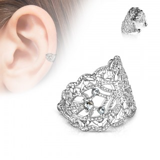 Silver wide ear cuff with filigree of crystals