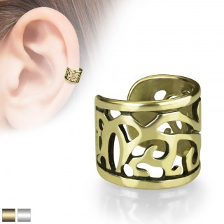 Wide coloured ear cuff with cut out pattern