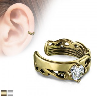 Coloured ear cuff with big prong set jewel