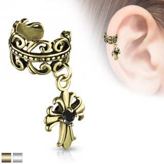 Dangling fleur de lis and black crystal ear cuff
