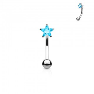 Curved barbell with coloured diamond in star shape