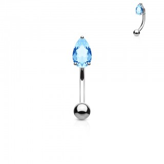 Curved barbell piercing topped with coloured teardrop jewel