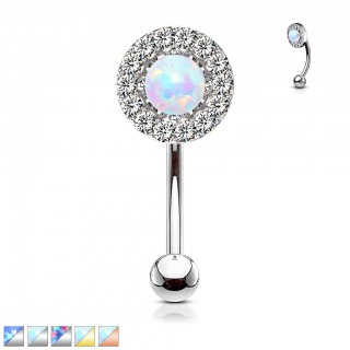 Prong set crystalised opal decorated curved barbell