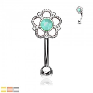 Flower filigree turquoise centre topped curved barbell piercing