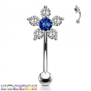 Double tiered crystalised floral curved barbell piercing