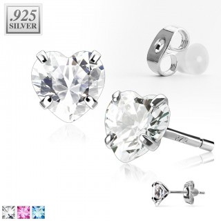 Pair .925 sterling silver ear studs with heart crystal