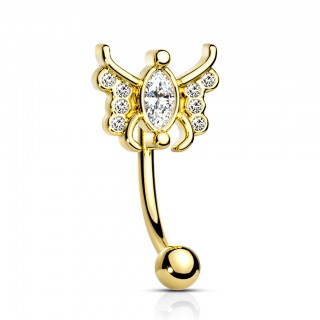 Coloured curved barbell with marquise crystal butterfly
