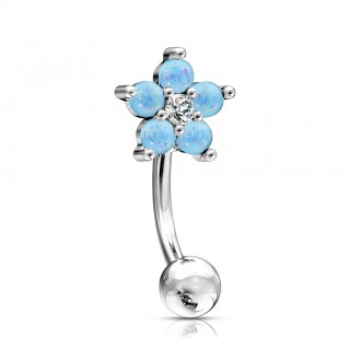 Curved barbell with flower top of opal stones