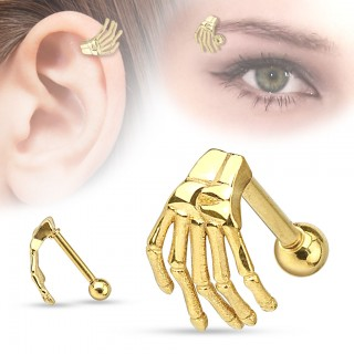 Helix stud with hand of a skeleton
