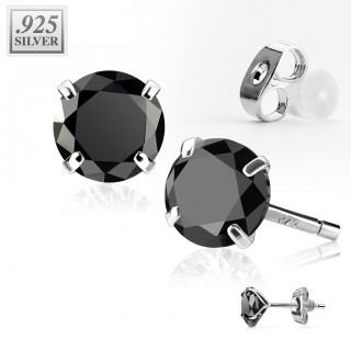 Pair .925 sterling silver ear studs with round crystal