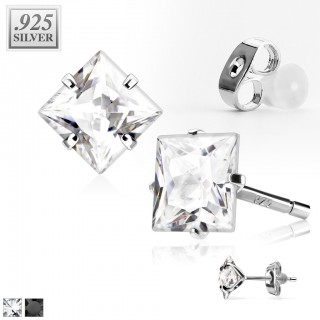 Pair .925 sterling silver ear studs with squared crystal