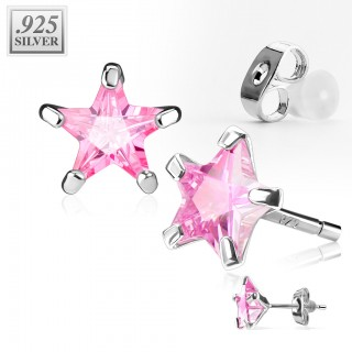 Pair .925 sterling silver ear studs with star shaped crystal