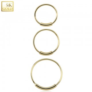 9 kt. yellow gold nose ring with bar