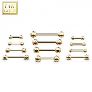 Solid 14 kt. gold barbell piercing with balls