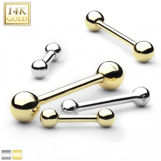 Solid gold barbell with balls