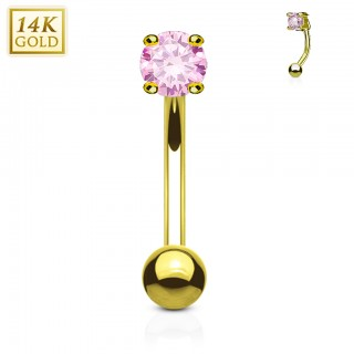 14 Kt. gold eyebrow piercing with round crystal