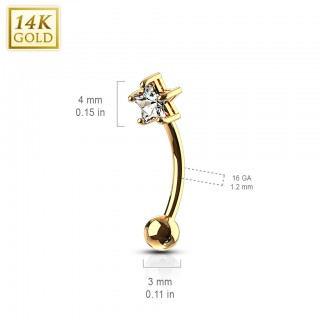14 Kt. gold curved barbell with pronged star gem