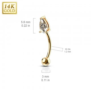 14 Kt. gold curved barbell with pronged tear drop gem