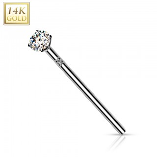 14 Kt. gold fishtail nose piercing with prong set crystal