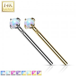 Long solid gold fishtail nose stud with clear crystal