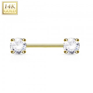 Solid gold nipple bar with crystals