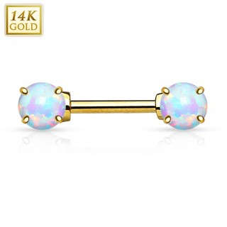 Solid gold nipple piercing with opal gems